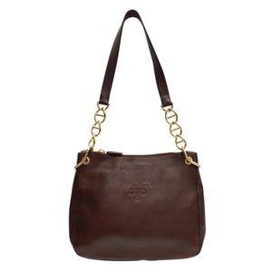 Prada brown leather logo chain shoulder bag